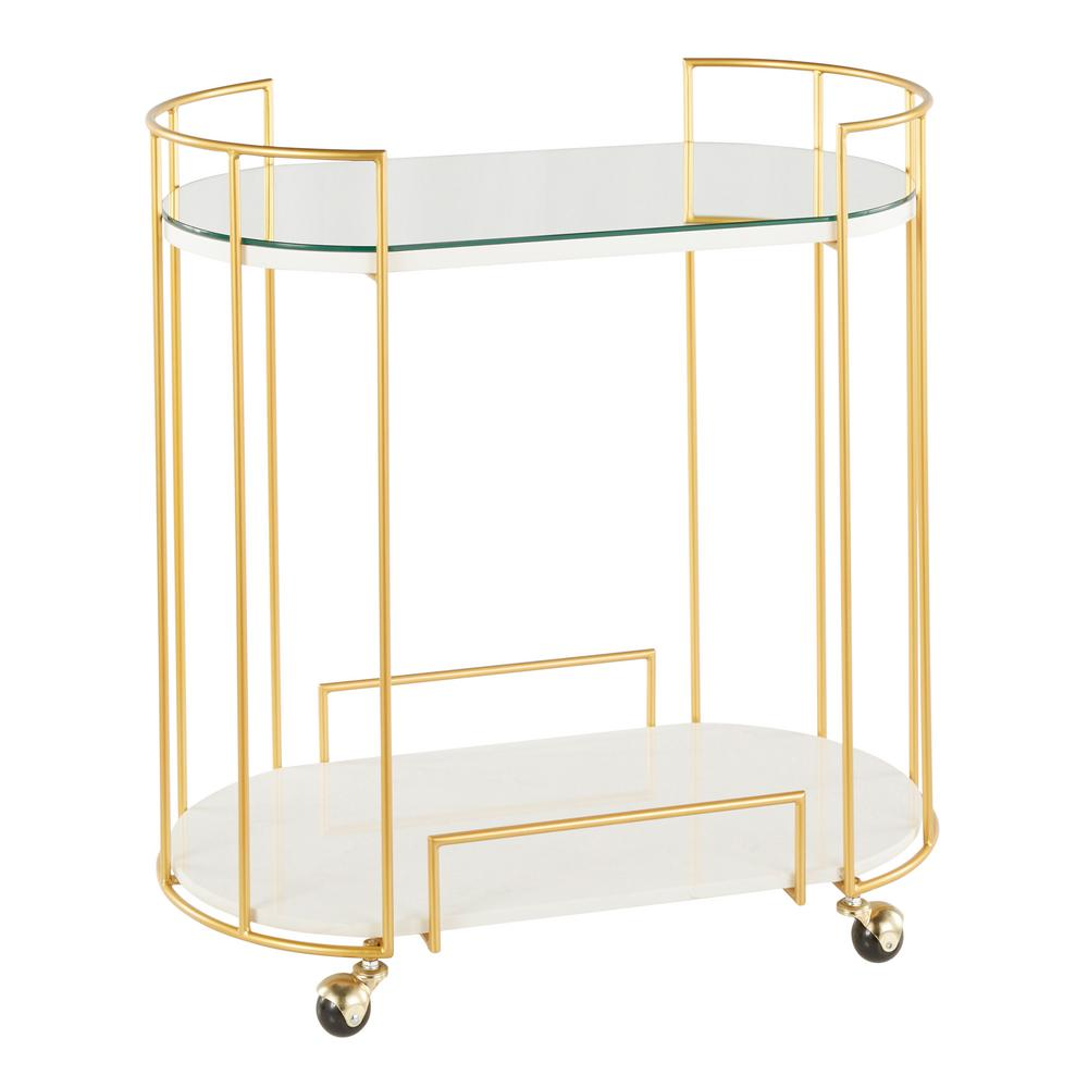 Lumisource Canary Mirrored Bar Cart In Gold Metal And White Marble
