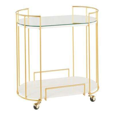 Canary Mirrored Bar Cart in Gold Metal and White Marble