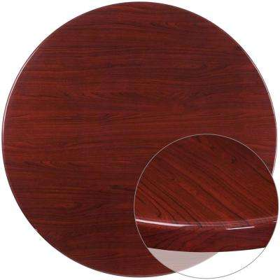 48 In. Round High Gloss Mahogany Resin Table Top ...