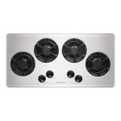 36 in. Recessed Gas Cooktop in Stainless Steel with 4 Burners