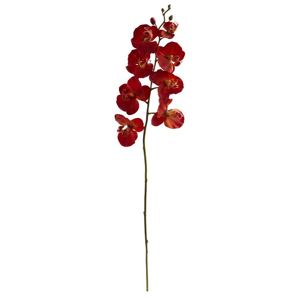 Indoor 30 in. Autumn Phalaenopsis Artificial Flower (Set of 6)