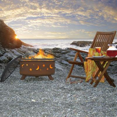 Evening Sky 29 in. x 18 in. Round Steel Wood Burning Fire Pit in Rust with Grill Poker Spark Screen and Cover