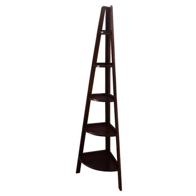 72 in. Espresso Wood 5-shelf Ladder Bookcase with Open Back