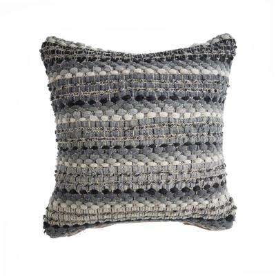 Neutral Shades Loop Black / Grey 18 in. x 18 in. Decorative Throw Pillow