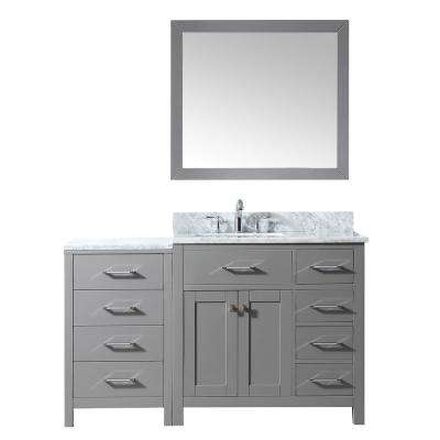 Caroline Parkway 56 in. W x 22 in. D Vanity in Cashmere with Marble Vanity Top in White with White Basin Mirror Faucet