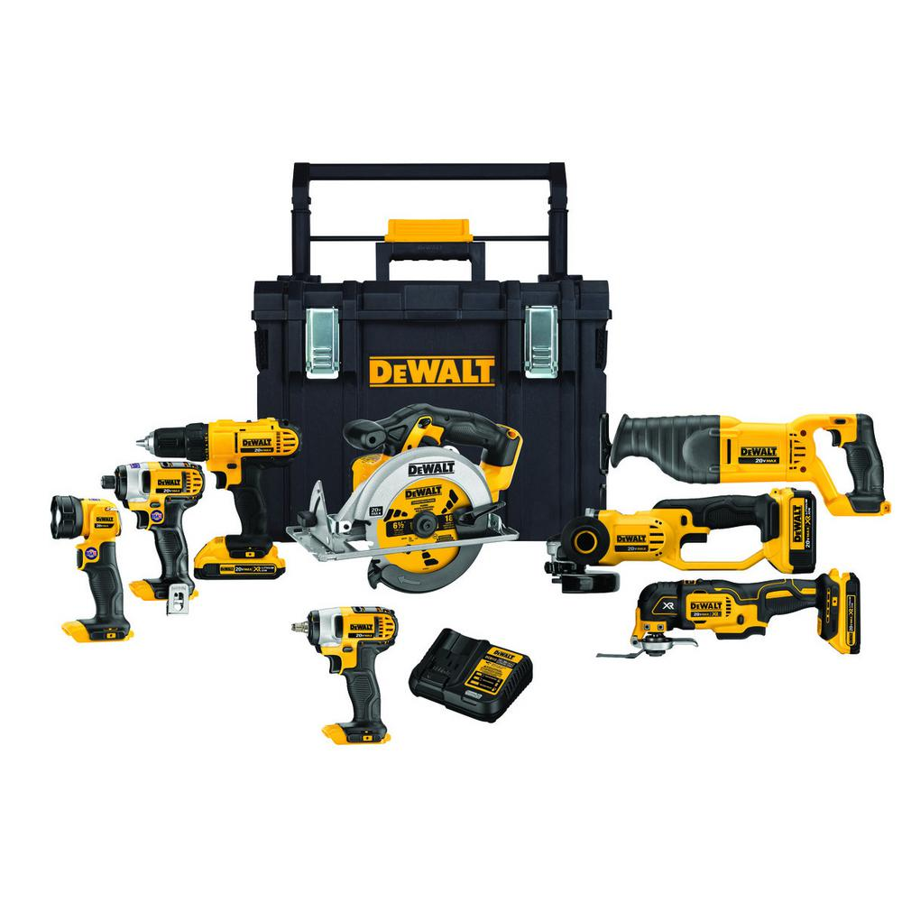 DEWALT 20-Volt MAX Lithium-Ion Cordless Combo Kit (8-Tool) w/(2) 2Ah and (1) 4Ah 20-Volt MAX Batteries and ToughSystem Box