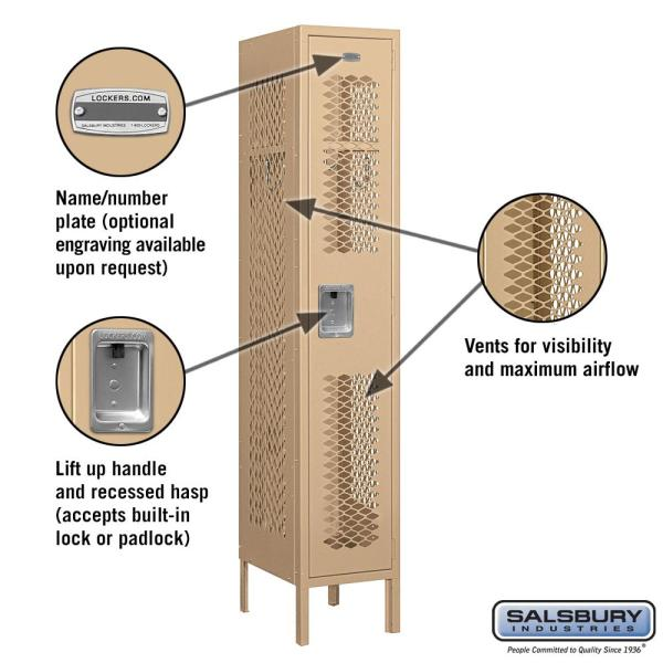 Salsbury Industries 71000 Series 1 Compartment Single Tier 12 In W X 66 In H X 15 In D Vented Metal Locker Assembled In Tan 71155tn A The Home Depot