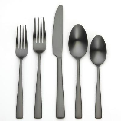 Rena 20 Piece Matte Black 18/0 Stainless Steel Flatware Set, Service for 4