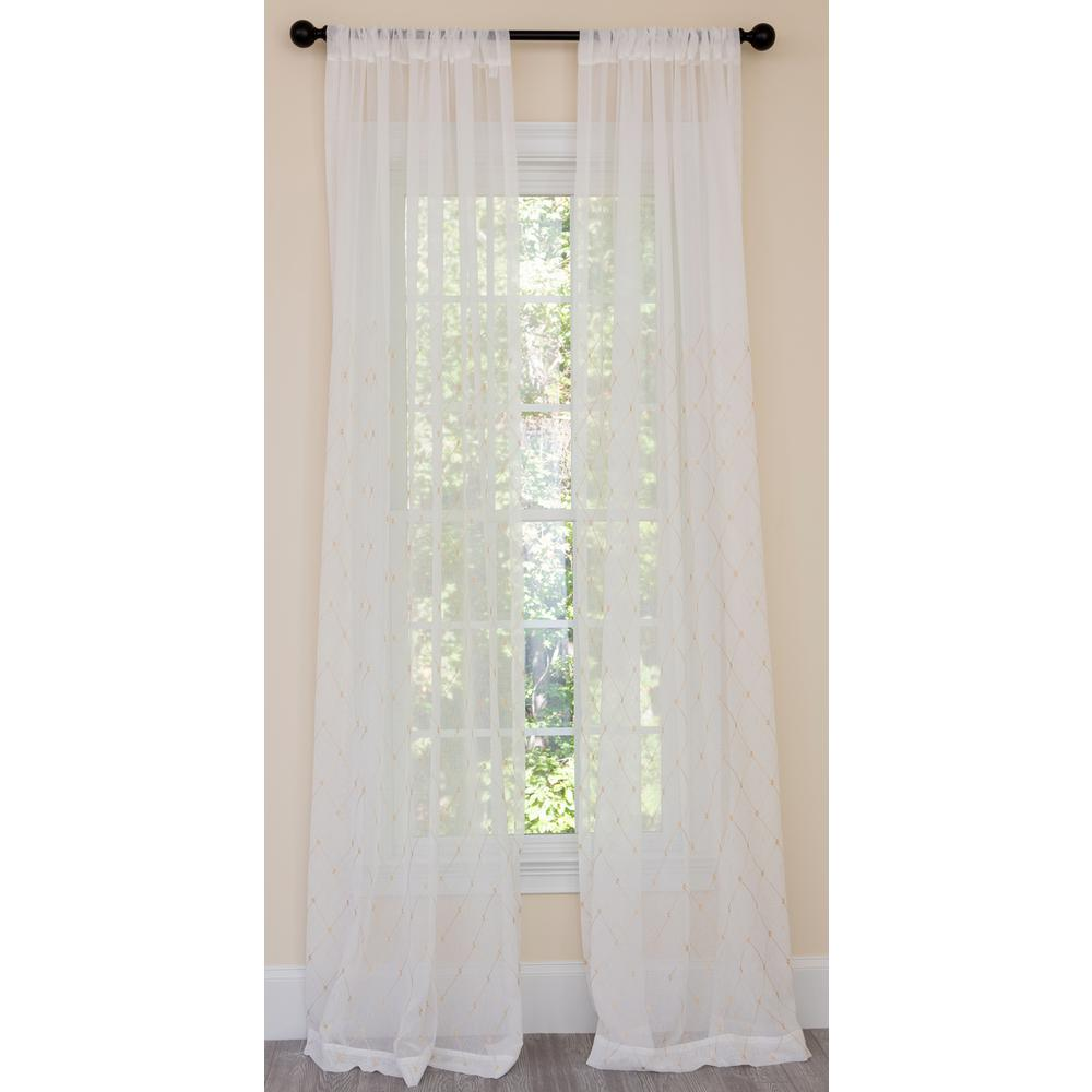 Manor Luxe Bonita Diamond Embroidered Sheer Rod Pocket Single Curtain Panel in Gold - 54 in. x 108 in.