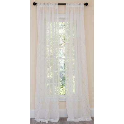 Bonita Diamond Embroidered Sheer Rod Pocket Single Curtain Panel in Gold - 54 in. x 84 in.