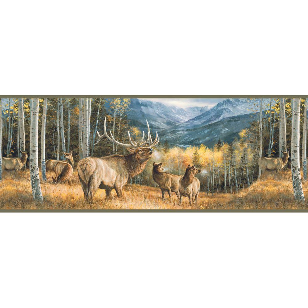 Lake Forest Lodge Elk Wallpaper Border