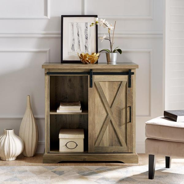 Rustic Oak Farmhouse Sliding Barn Door Accent Cabinet By Walker Edison Furniture Company