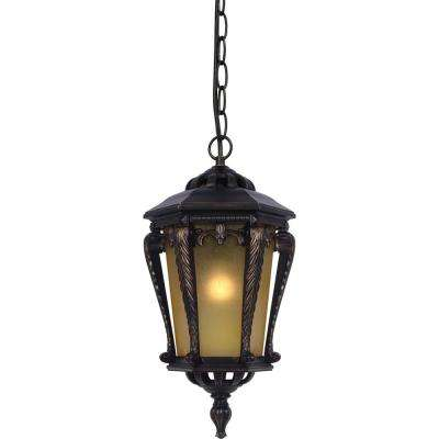 Golden Rust 1-Light Aluminum Outdoor Lantern Hanging Pendant with Tapered Champagne Bubble Glass