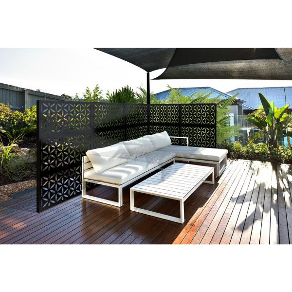 2 ft. x 4 ft. Black Saki Decorative Privacy and Fence Panel