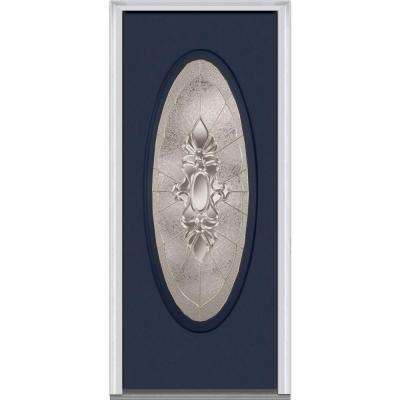 36 in. x 80 in. Heirloom Master Left-Hand Large Oval Lite Decorative Painted Fiberglass Smooth Prehung Front Door