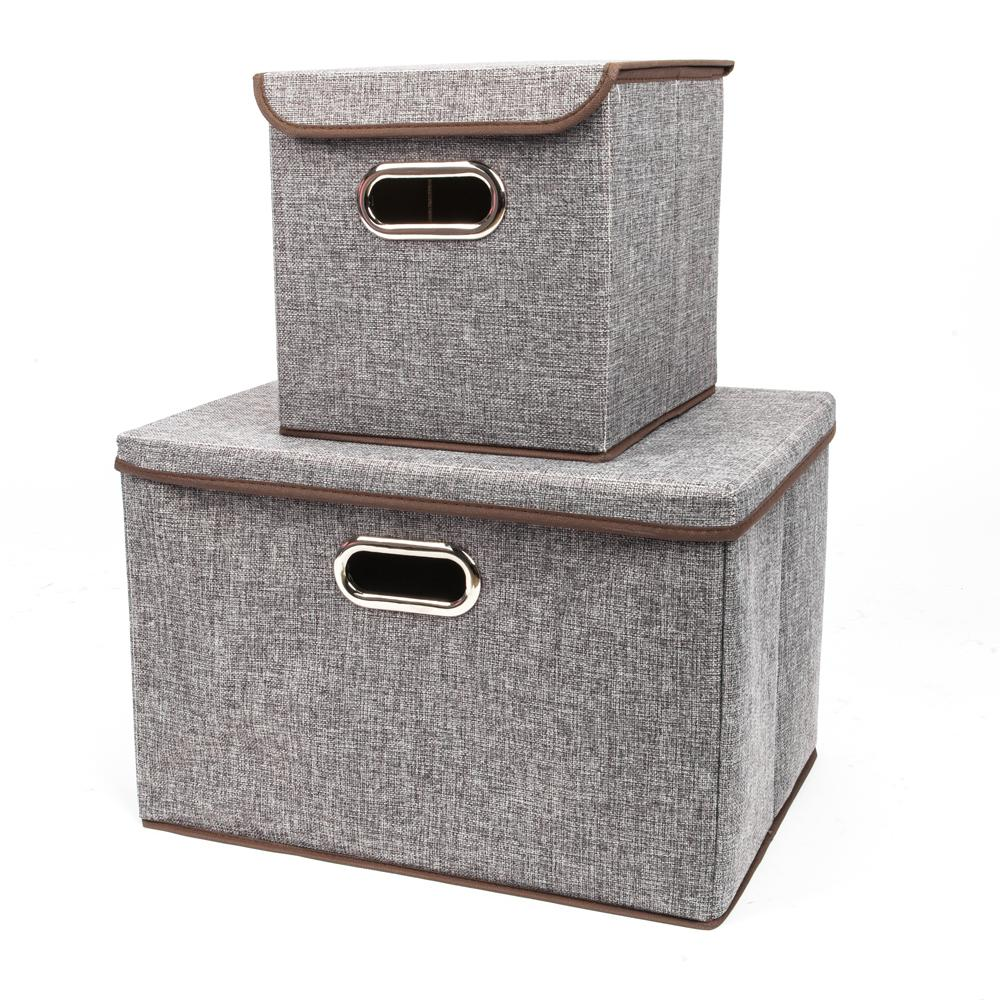 Gray Fashion Elegant Cloth Art Fabric Storage with Boxes (2-Piece)