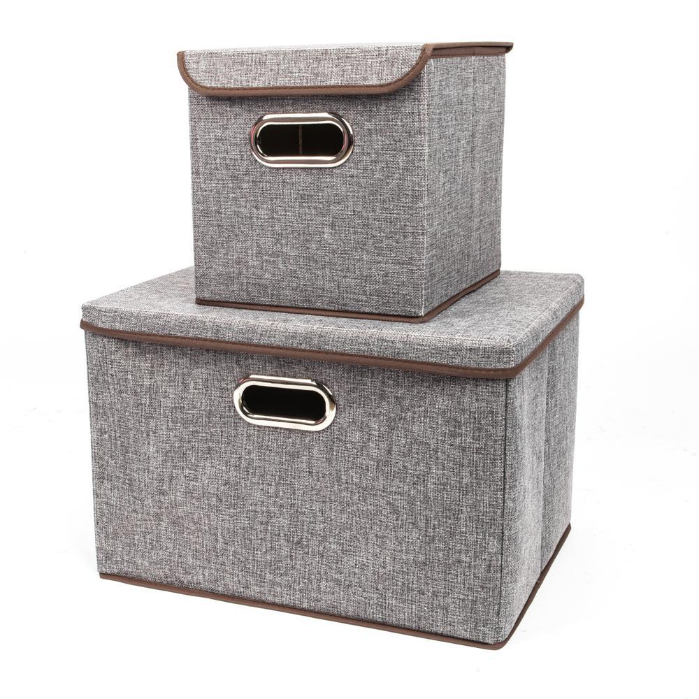 Gray Fashion Elegant Cloth Art Fabric Storage with Boxes (2-Piece)