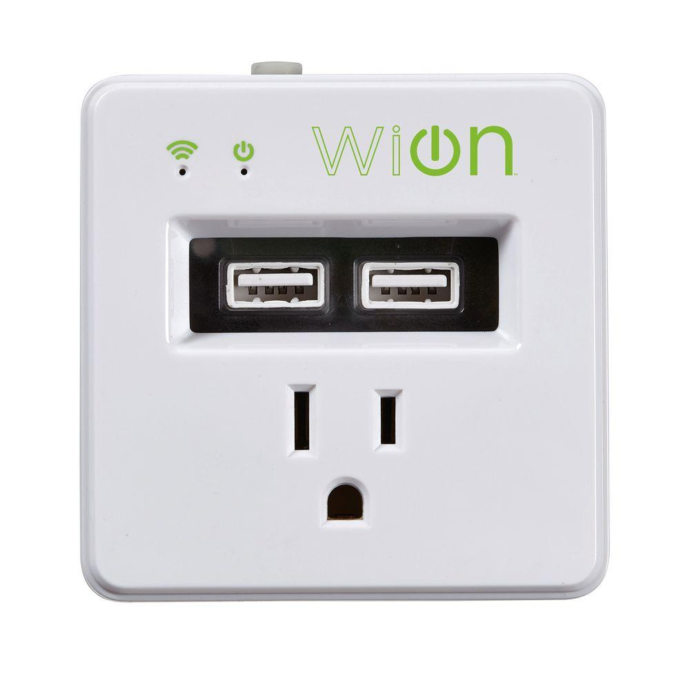 Woods 15-Amp WiOn Indoor Plug-In Wi-Fi Wireless Switch Dual-USB Charging Port Programmable Control Timer, White