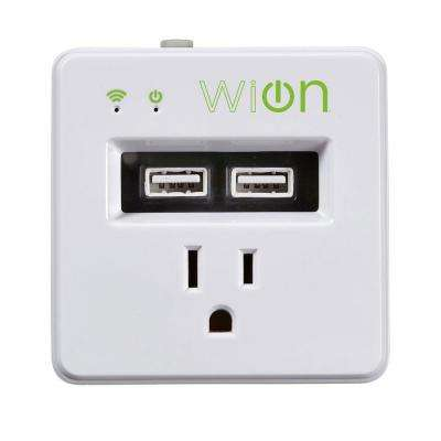 15-Amp WiOn Indoor Plug-In Wi-Fi Wireless Switch Dual-USB Charging Port Programmable Control Timer, White