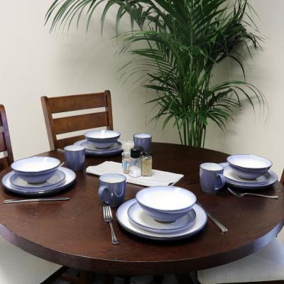 Serene Fountain 16-Piece Casual Blue/Glossy finish Earthenware Dinnerware Set (Service for 4)
