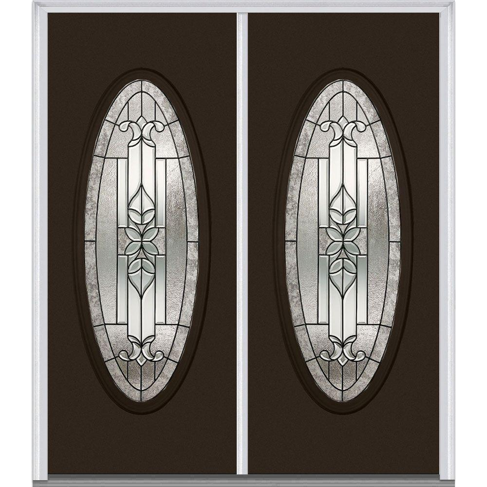 34 Oval Brown Doors With Glass Fiberglass Doors The Home Depot