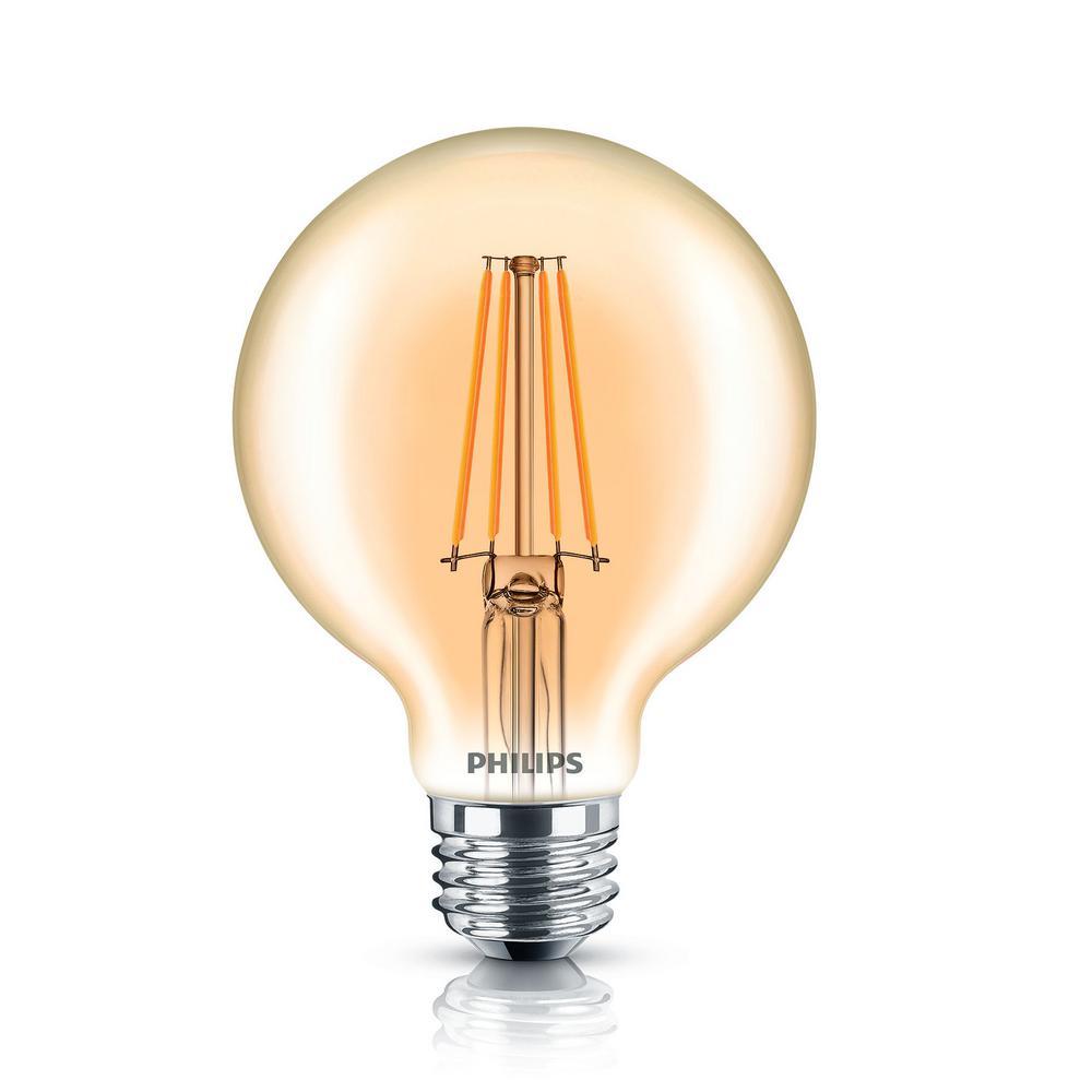 Philips 40-Watt Equivalent G25 Dimmable Vintage Glass Edison LED Globe Light Bulb Amber Warm White (2200K)