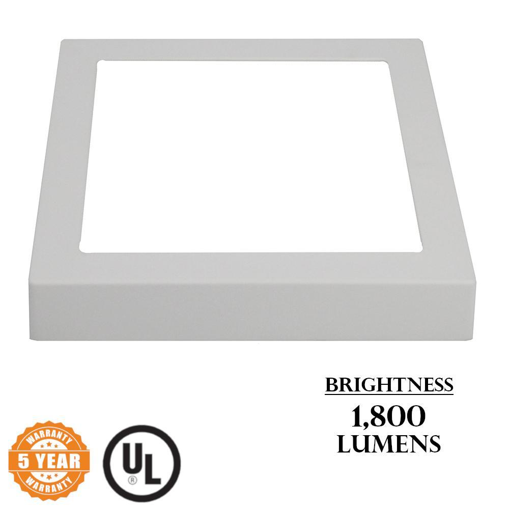 Surface Mount Panel 18-Watt White Integrated LED Semi-Flush Mount