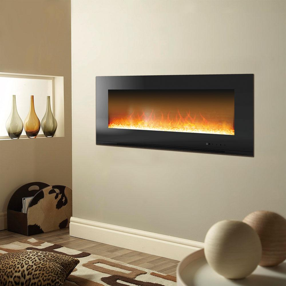Experience comfortable warmth and dramatic flair anywhere in your home with Cambridge Metropolitan Wall-Mount Electric Fireplace in Black.