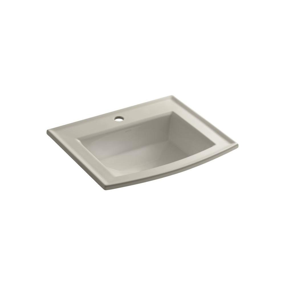 KOHLER Archer Drop-In Vitreous China Bathroom Sink in Sandbar with Overflow Drain