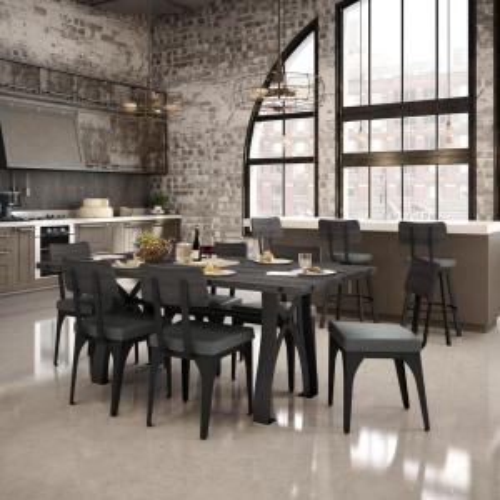 Symmetry Black Metal Grey Cushion Grey Wood Dining Chair (Set of 2)