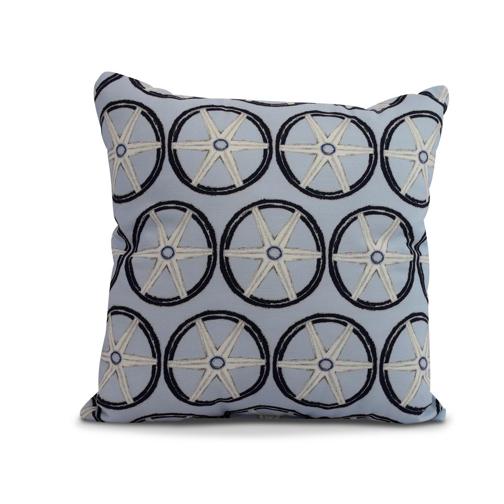 Nautical Geo Lines 18 in. Blue Decorative Nautical Throw Pillow