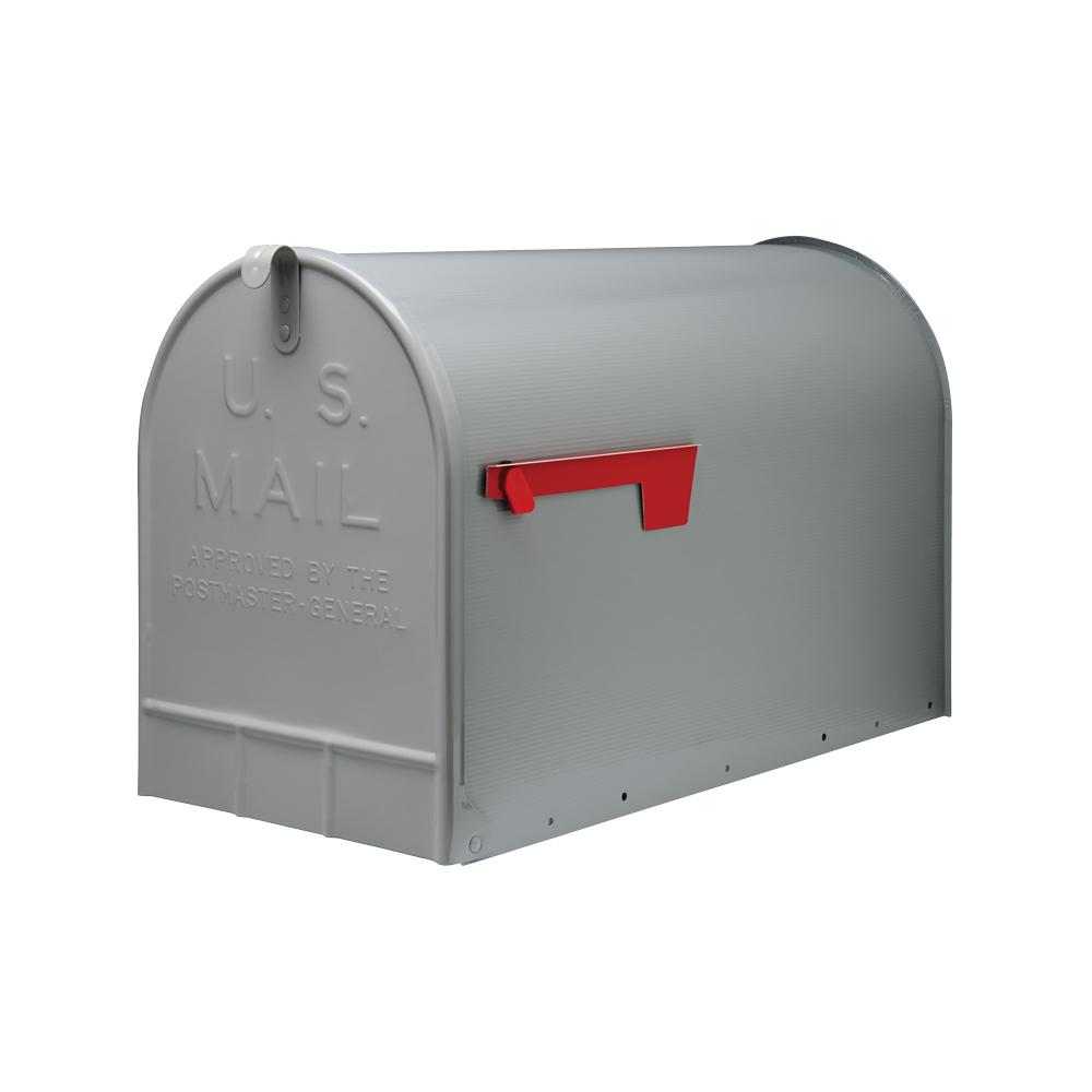 Gibraltar Mailboxes Jumbo Galvanized Steel Post-Mount Mailbox, Gray