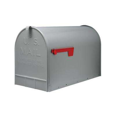Jumbo Galvanized Steel Post-Mount Mailbox, Gray