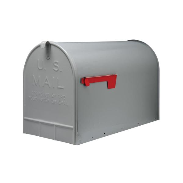 Stanley Extra Large, Steel, Post Mount Mailbox, Gray