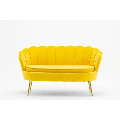 Contemporary 51.5 in. Yellow Velvet Loveseat Sofa with Gold-Finished Metal Legs for Living Room Bedroom Home Office