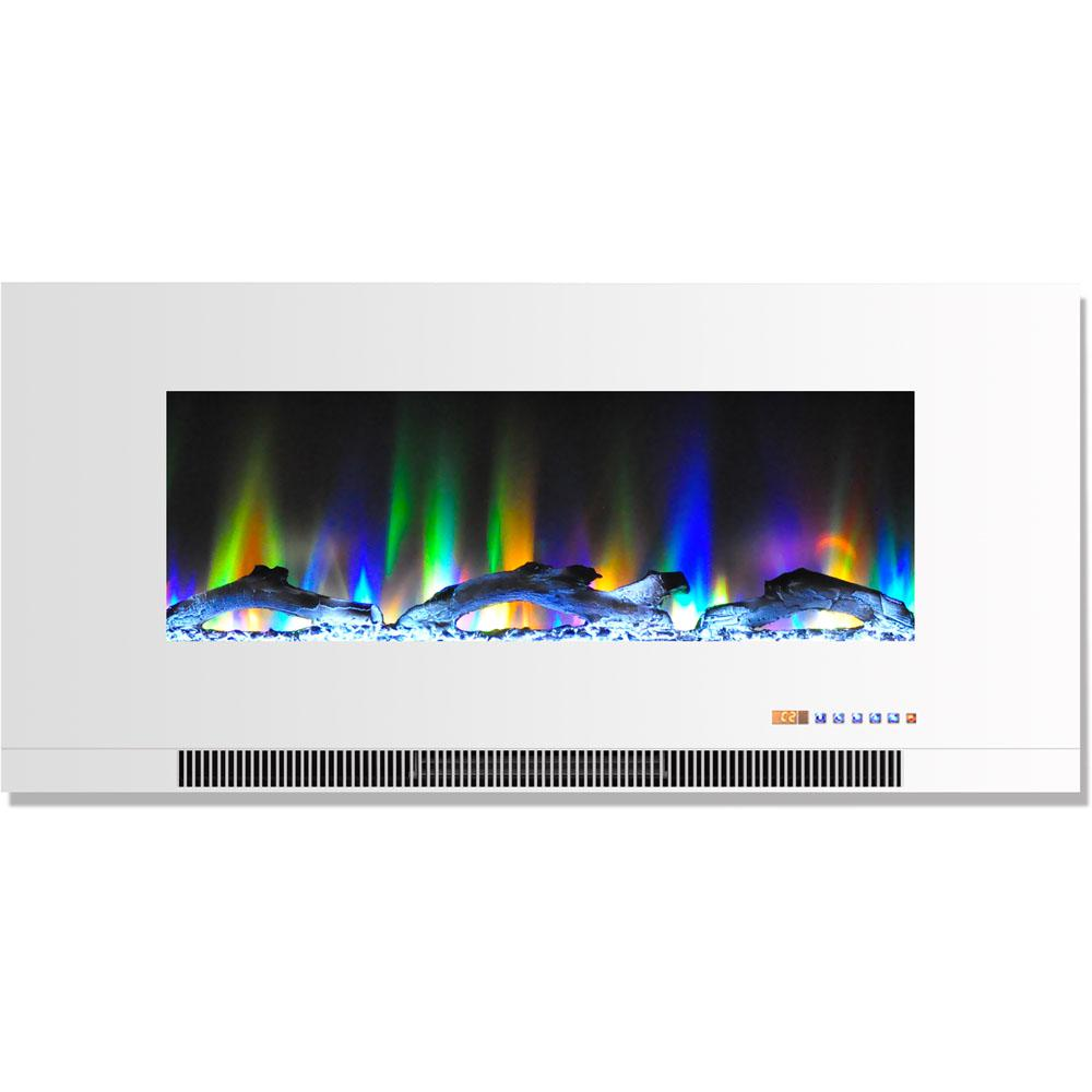 42 in. Wall-Mount Electric Fireplace in White with Multi-Color Flames and