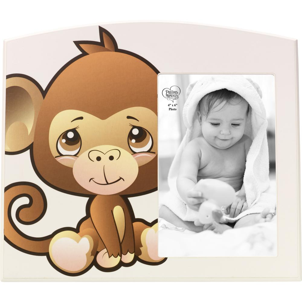 Precious Moments Precious Paws 4 in. x 6 in. Beige and Brown Matte Wood Monkey Picture Frame, Multi From the Precious Paws collection of this sweet-faced monkey sits beside a 4 in. x 6 in. photo of a precious little one. Bold lines and colorful artwork are sure to have any young child captivated a perfect accent for nurseries and playrooms. Give this Precious Moments photo frame as a thoughtful baby gift for both boys and girls as a birthday gift baby's first gift or for any of a little one's special occasions. Crafted of durable MDF. Approximately 9 in. W x 8 in. H. Color: Multi.