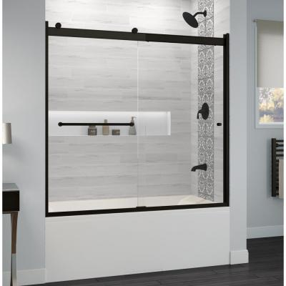 Rotolo 60 in. x 57 in. Semi-Frameless Sliding Bathtub Door in Matte Black