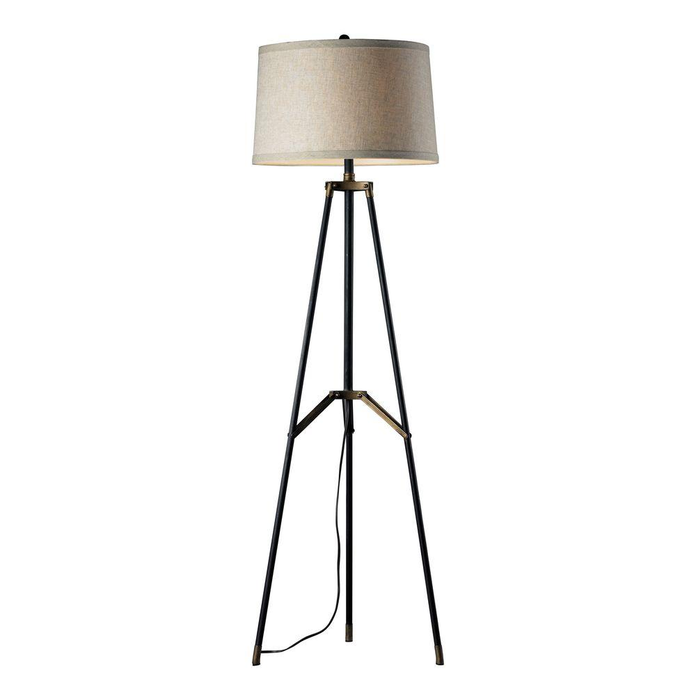 An Lighting Functional Tripod 54 In Restoration Black And Aged Gold Floor Lamp