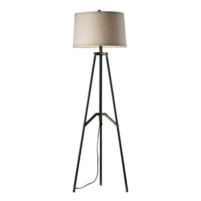 Functional Tripod 54 in. Restoration Black and Aged Gold Floor Lamp