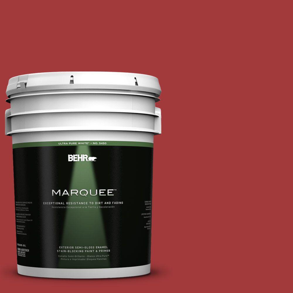 BEHR MARQUEE 5-gal. #UL110-16 Bijou Red Semi-Gloss Enamel Exterior Paint