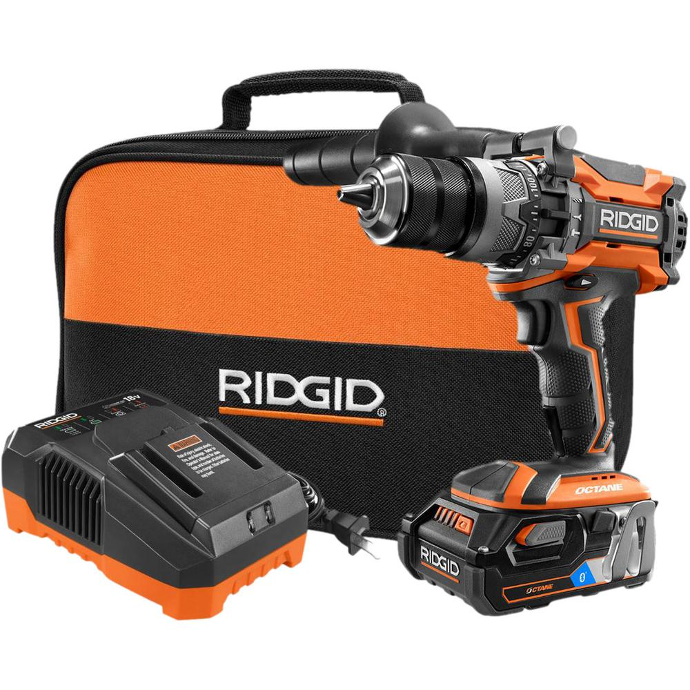 RIDGID 18-Volt OCTANE LIthium-Ion Cordless Brushless 1/2 in. Hammer Drill Kit with OCTANE 3.0 Battery, Charger, and Bag