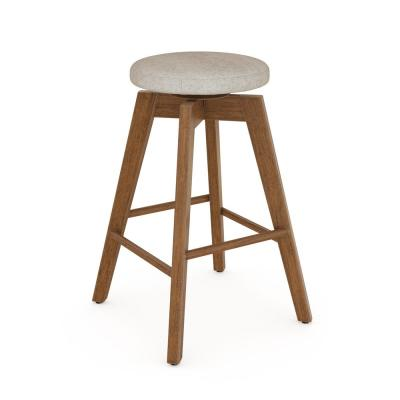Amalia 26 in. Natural Wheat Brown Backless Counter Height 360° Swivel Upholstered Seat Solid Wood Bar Stool