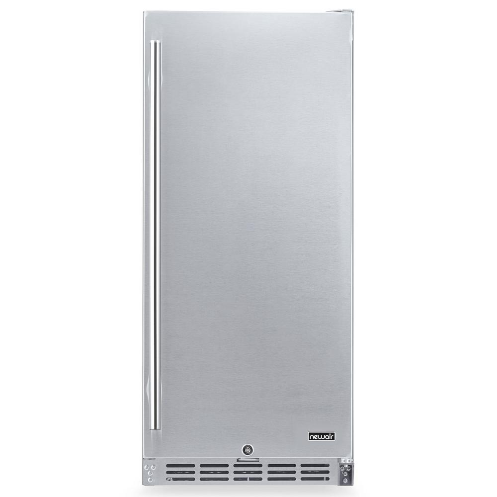 NewAir 15 in. 90 Can Built-in Outdoor Cooler Fridge w/ Auto-Closing Door and Easy Glide Casters - Weatherproof Stainless Steel