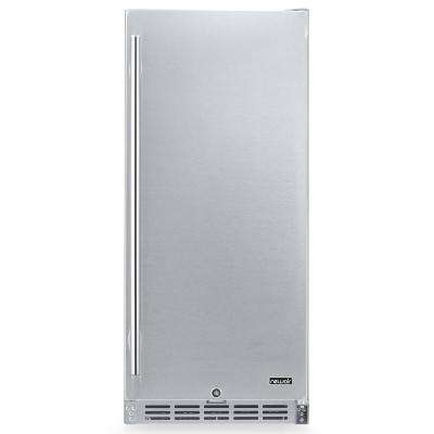 15 in. 90 Can Built-in Outdoor Cooler Fridge w/ Auto-Closing Door and Easy Glide Casters - Weatherproof Stainless Steel