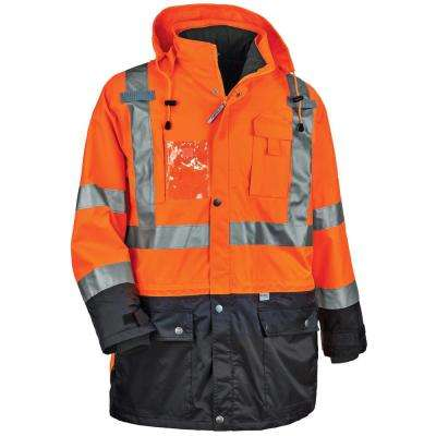 Men's Large Orange Polyester Reflective Thermal Jacket