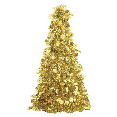 10 in. Gold Tinsel Tree Centerpiece (6-Pack)