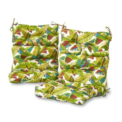 Palm Leaves Multi Outdoor High Back Dining Chair Cushion (2-Pack)