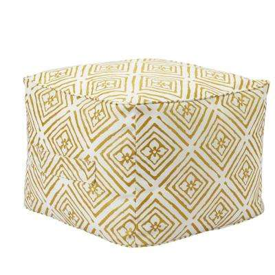 Metallic Diamond Square Outdoor Pouf with Handle