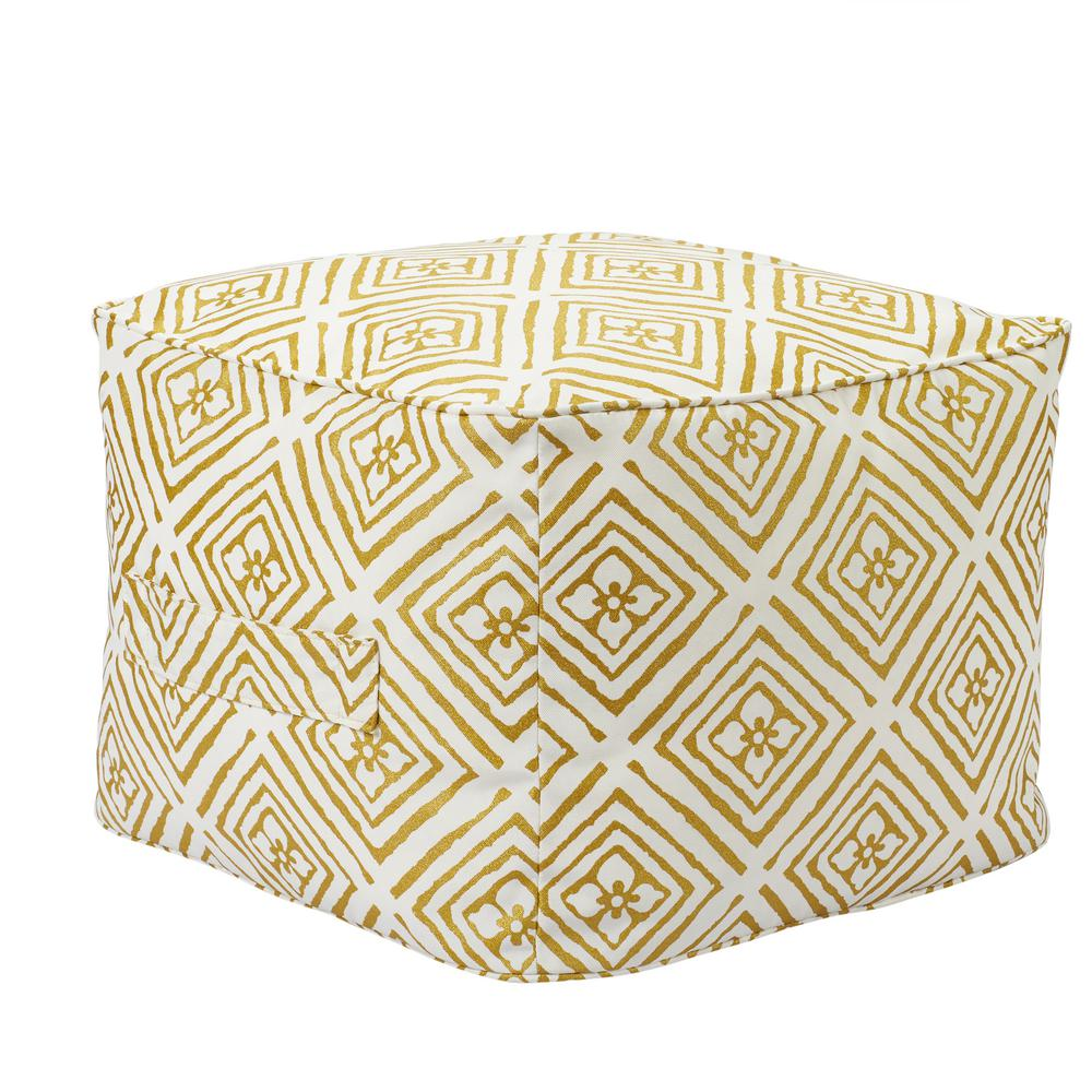 Hampton Bay Metallic Diamond Square Outdoor Pouf with Handle
